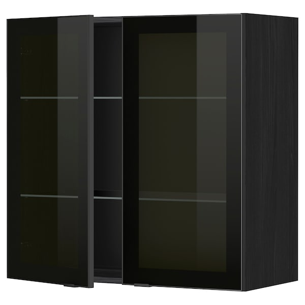 METOD Wall cabinet w shelves/2 glass drs, black/Jutis smoked glass, 80x80 cm