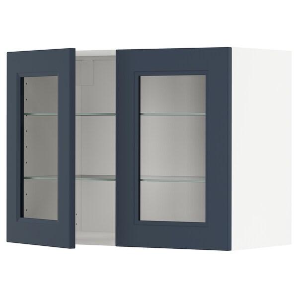 METOD Wall cabinet w shelves/2 glass drs, white Axstad/matt blue, 80x60 cm