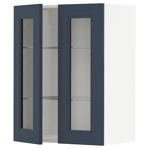 METOD Wall cabinet w shelves/2 glass drs, white Axstad/matt blue, 60x80 cm