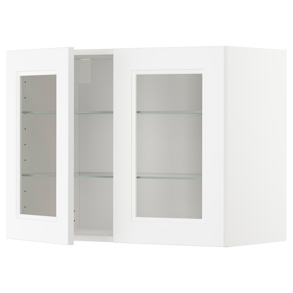 METOD Wall cabinet w shelves/2 glass drs, white/Axstad matt white, 80x60 cm