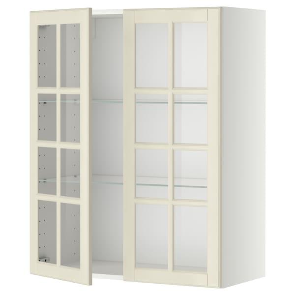 METOD Wall cabinet w shelves/2 glass drs, white/Bodbyn off-white, 80x100 cm