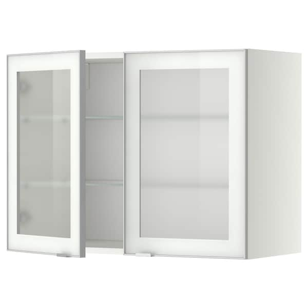 METOD Wall cabinet w shelves/2 glass drs, white/Jutis frosted glass, 80x60 cm