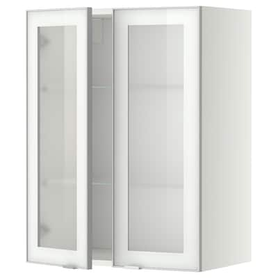 METOD Wall cabinet w shelves/2 glass drs, white/Jutis frosted glass, 60x80 cm