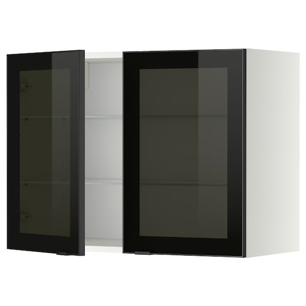 METOD Wall cabinet w shelves/2 glass drs, white/Jutis smoked glass, 80x60 cm
