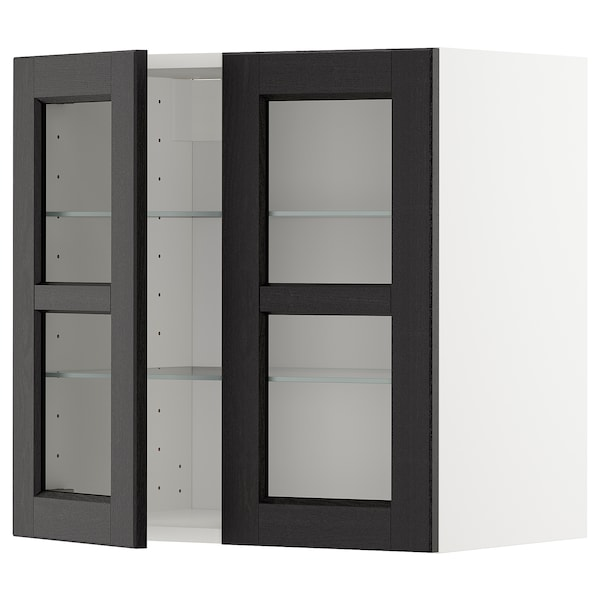 METOD Wall cabinet w shelves/2 glass drs, white/Lerhyttan black stained, 60x60 cm