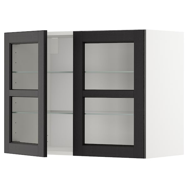 METOD Wall cabinet w shelves/2 glass drs, white/Lerhyttan black stained, 80x60 cm