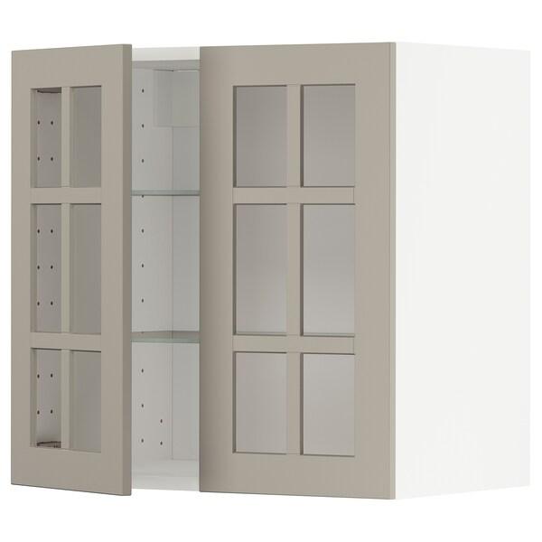 METOD Wall cabinet w shelves/2 glass drs, white/Stensund beige, 60x60 cm