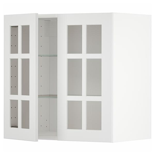 METOD Wall cabinet w shelves/2 glass drs, white/Stensund white, 60x60 cm