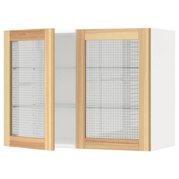 METOD Wall cabinet w shelves/2 glass drs, white/Torhamn ash, 80x60 cm