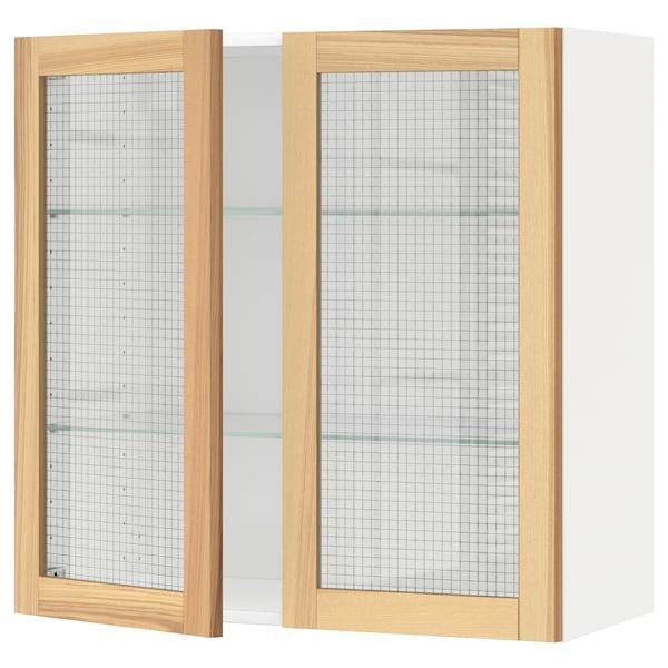 METOD Wall cabinet w shelves/2 glass drs, white/Torhamn ash, 80x80 cm