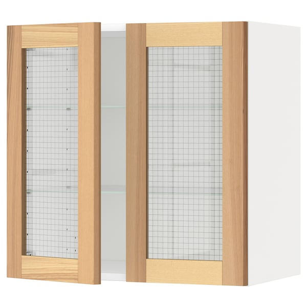 METOD Wall cabinet w shelves/2 glass drs, white/Torhamn ash, 60x60 cm