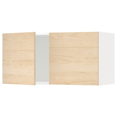 METOD Wall cabinet with 2 doors, white/Askersund light ash effect, 80x40 cm