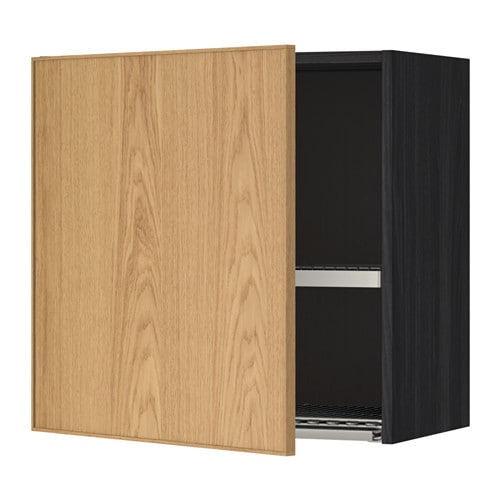 Metod wall cabinet with dish drainer wood effect black for Oak effect kitchen wall units