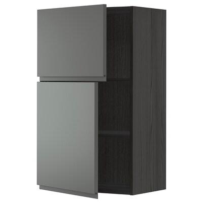 METOD Wall cabinet with shelves/2 doors, black/Voxtorp dark grey, 60x100 cm