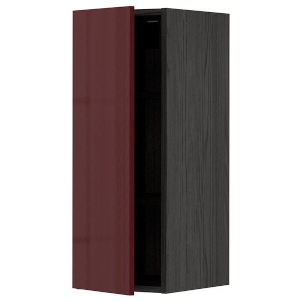 METOD Wall cabinet with shelves, black Kallarp/high-gloss dark red-brown, 30x80 cm