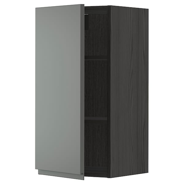 METOD Wall cabinet with shelves, black/Voxtorp dark grey, 40x80 cm