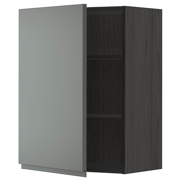 METOD Wall cabinet with shelves, black/Voxtorp dark grey, 60x80 cm