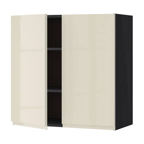 Metod Wall Cabinet With 2 Doors White Voxtorp High Gloss: METOD Wall Cabinet With Shelves/2 Doors