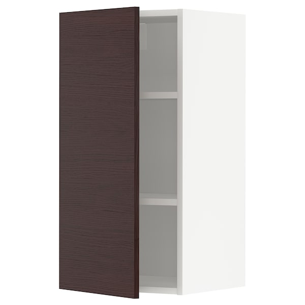 METOD Wall cabinet with shelves, white Askersund/dark brown ash effect, 40x80 cm