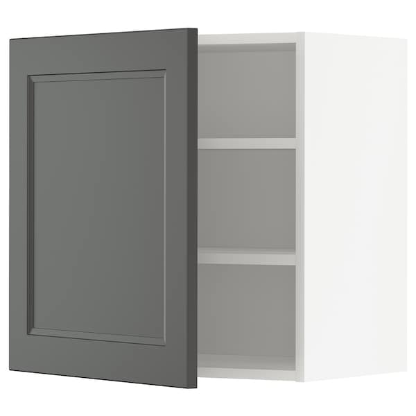 METOD Wall cabinet with shelves, white/Axstad dark grey, 60x60 cm