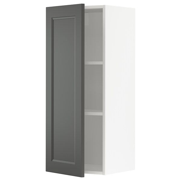 METOD Wall cabinet with shelves, white/Axstad dark grey, 40x100 cm