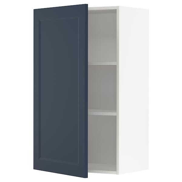 METOD Wall cabinet with shelves, white Axstad/matt blue, 60x100 cm