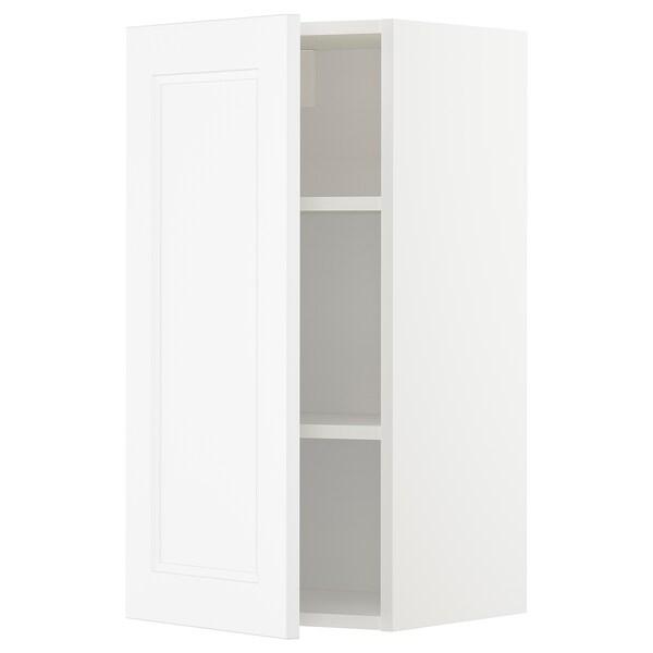METOD Wall cabinet with shelves, white/Axstad matt white, 40x80 cm