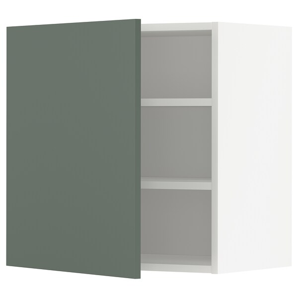 METOD Wall cabinet with shelves, white/Bodarp grey-green, 60x60 cm