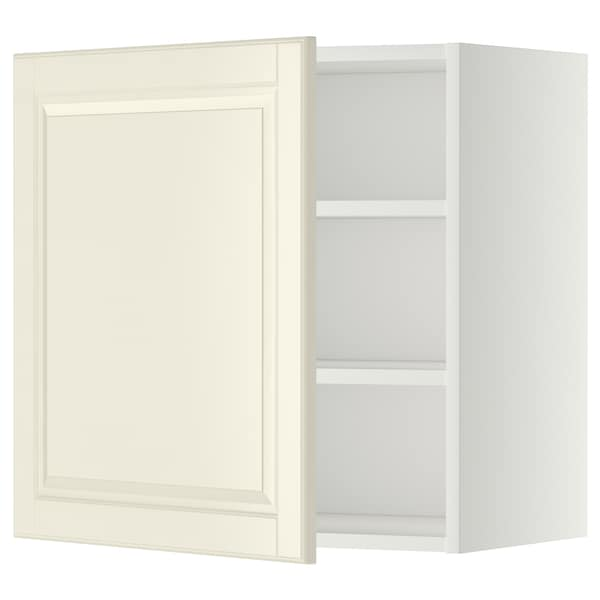 METOD Wall cabinet with shelves, white/Bodbyn off-white, 60x60 cm