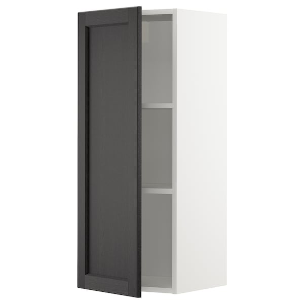 METOD Wall cabinet with shelves, white/Lerhyttan black stained, 40x100 cm