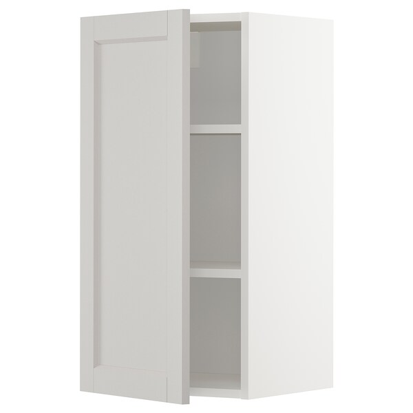 METOD Wall cabinet with shelves, white/Lerhyttan light grey, 40x80 cm