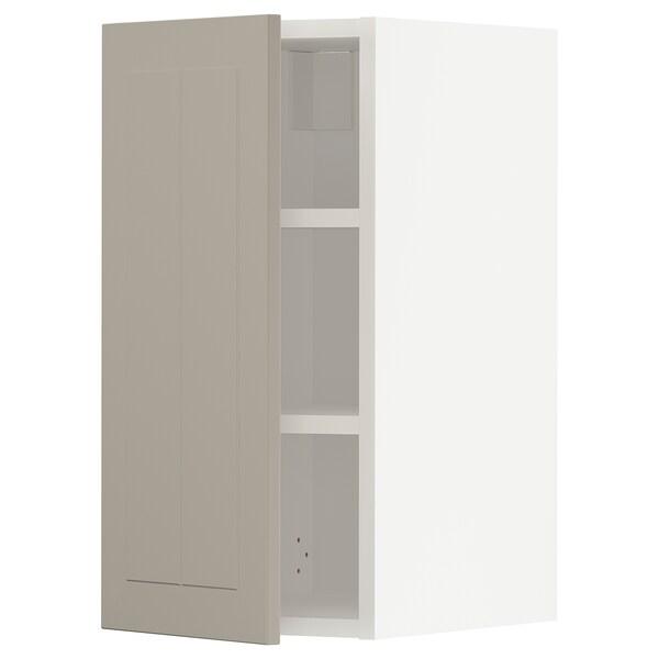 METOD Wall cabinet with shelves, white/Stensund beige, 30x60 cm