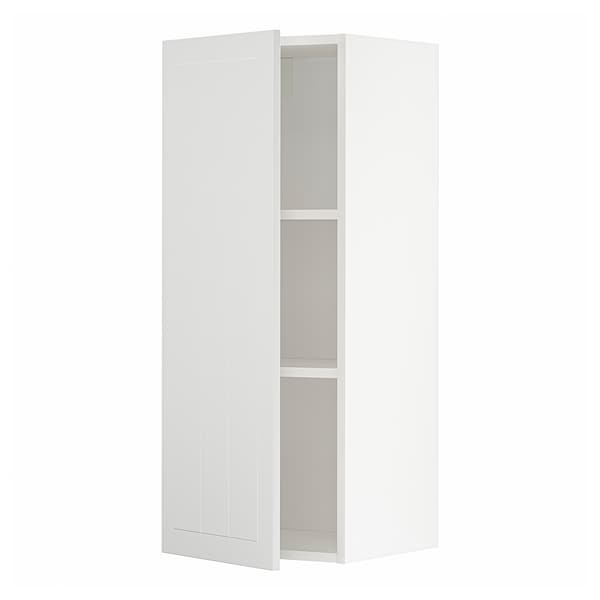 METOD Wall cabinet with shelves, white/Stensund white, 40x100 cm