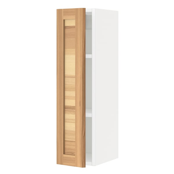 METOD Wall cabinet with shelves, white/Torhamn ash, 20x80 cm
