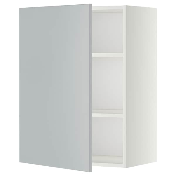 METOD Wall cabinet with shelves, white/Veddinge grey, 60x80 cm