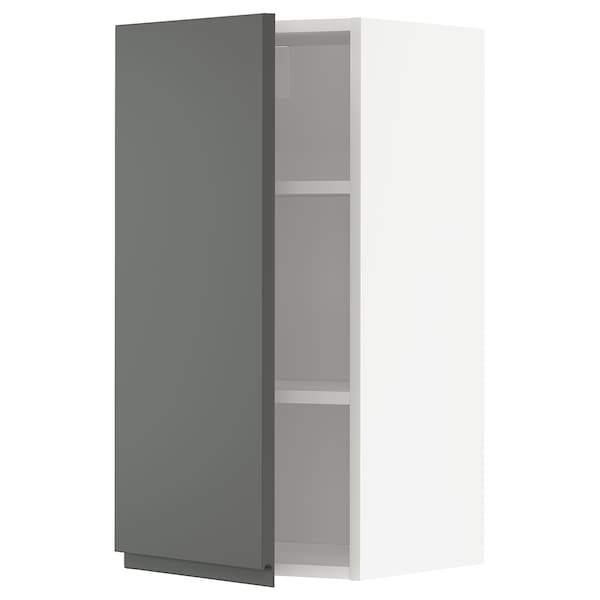 METOD Wall cabinet with shelves, white/Voxtorp dark grey, 40x80 cm