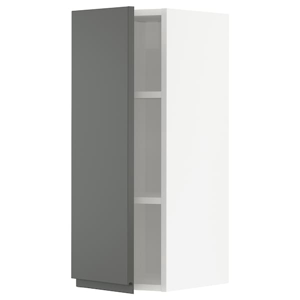 METOD Wall cabinet with shelves, white/Voxtorp dark grey, 30x80 cm