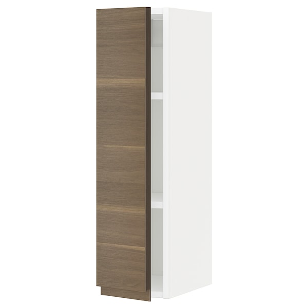 METOD Wall cabinet with shelves, white/Voxtorp walnut effect, 20x80 cm