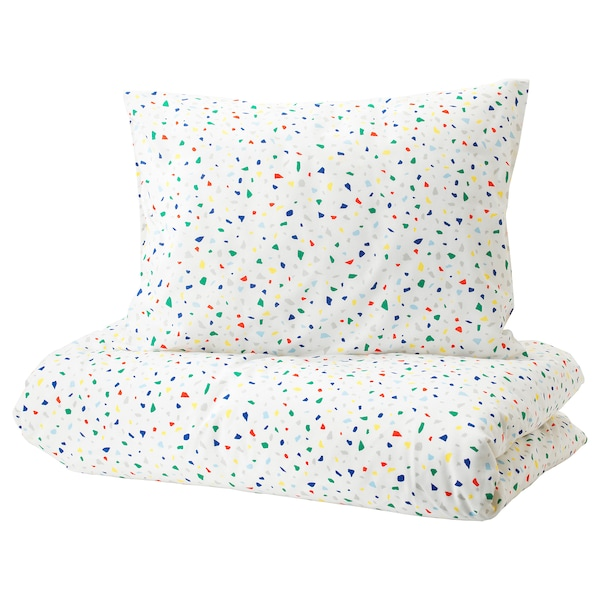 Quilt Cover And Pillowcase Möjlighet White Mosaic Patterned