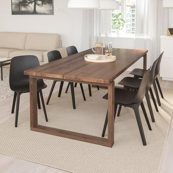 Mörbylånga Odger Table And 6 Chairs Oak Veneer Anthracite Length 220 Cm Ikea