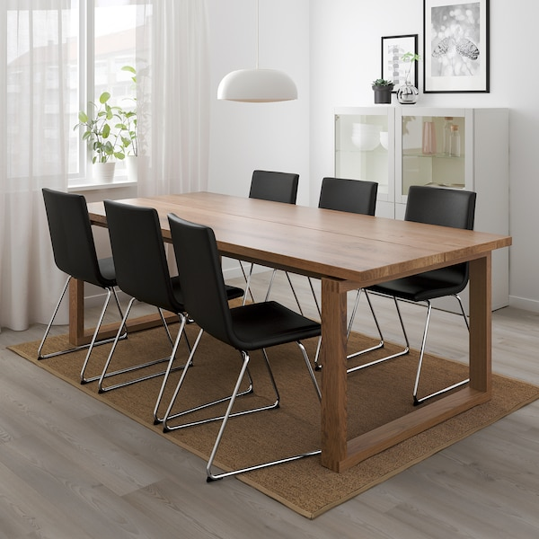 MÖRBYLÅNGA table oak veneer brown stained 220 cm 100 cm 74 cm