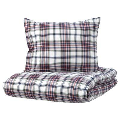 MOSSRUTA Quilt cover and 2 pillowcases, multicolour/check, 240x220/50x60 cm