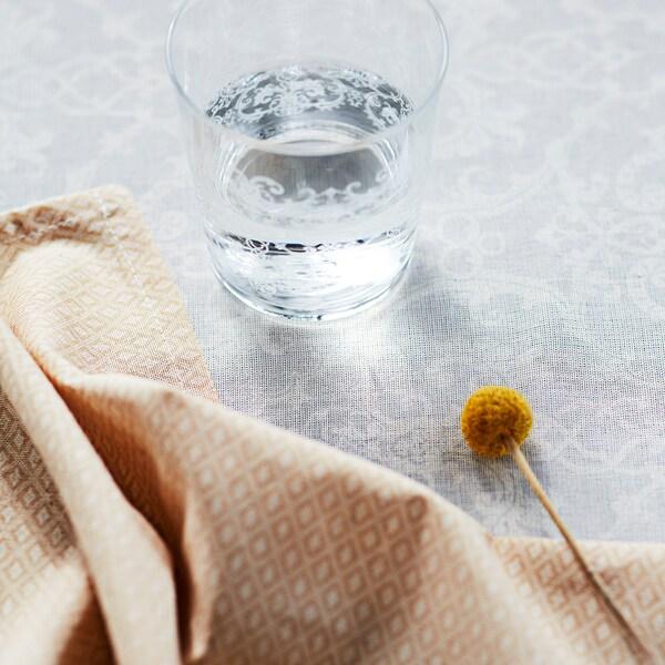 MUSTIGHET glass patterned/white 9 cm 30 cl 4 pack