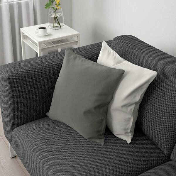NOCKEBY 3-seat sofa with chaise longue, left/Lejde dark grey/chrome-plated 277 cm 82 cm 97 cm 175 cm 15 cm 60 cm 138 cm 44 cm