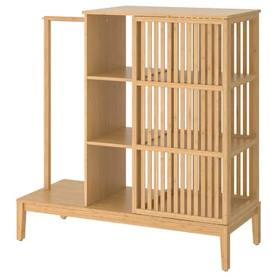 NORDKISA open wardrobe with sliding door bamboo 120 cm 47 cm 123 cm