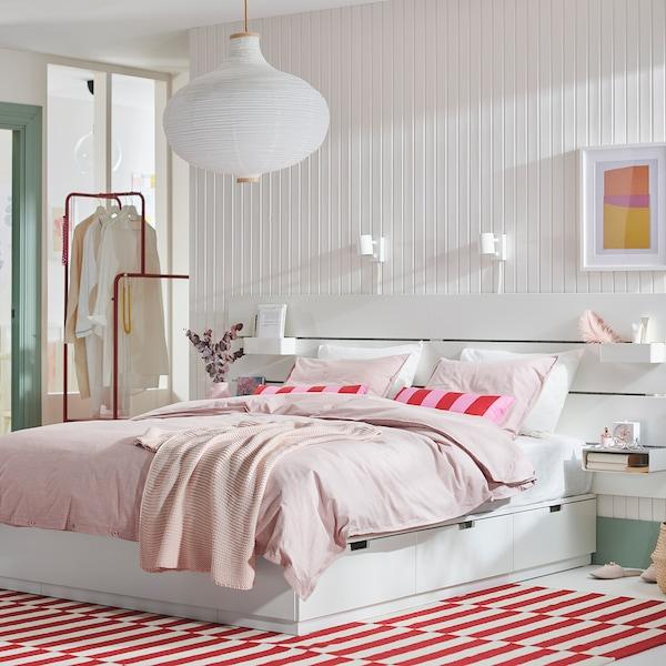 NORDLI Bed frame w storage and headboard, white, 160x200 cm