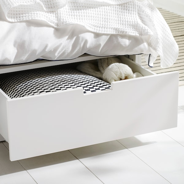NORDLI Bed frame with storage, white, 160x200 cm