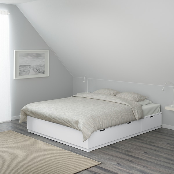 NORDLI Bed frame with storage, white, 140x200 cm