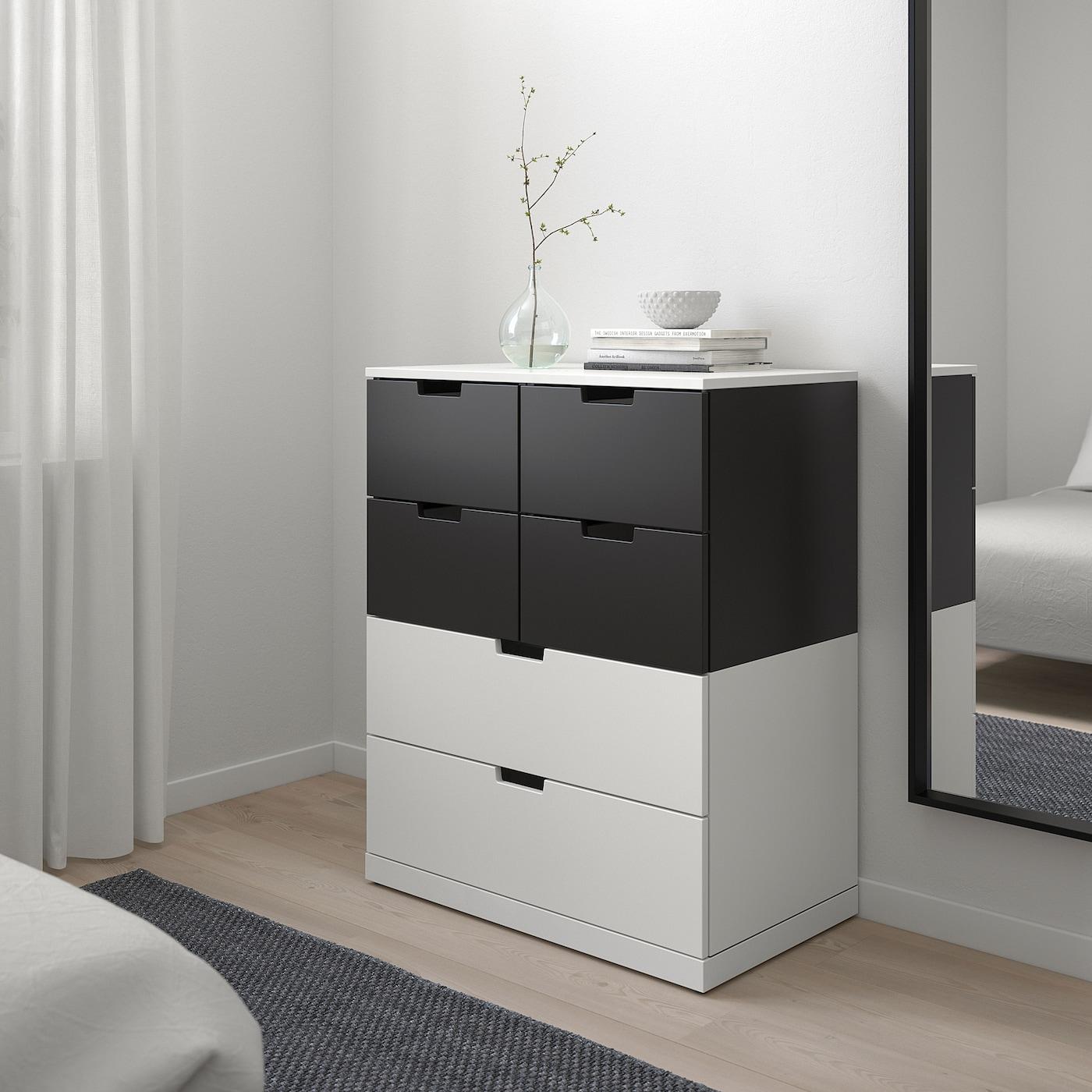 NORDLI Chest of 6 drawers, white/anthracite, 80x99 cm