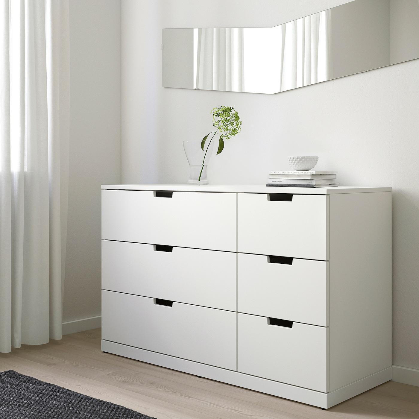 NORDLI Chest of 6 drawers, white, 120x76 cm